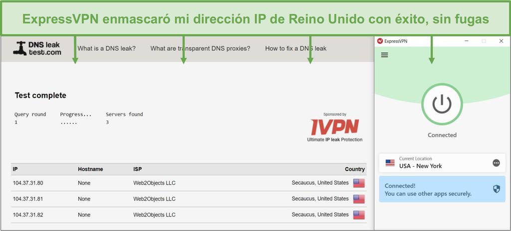 Captura de pantalla de la prueba de fugas DNS mientras está conectado a un servidor de ExpressVPN.