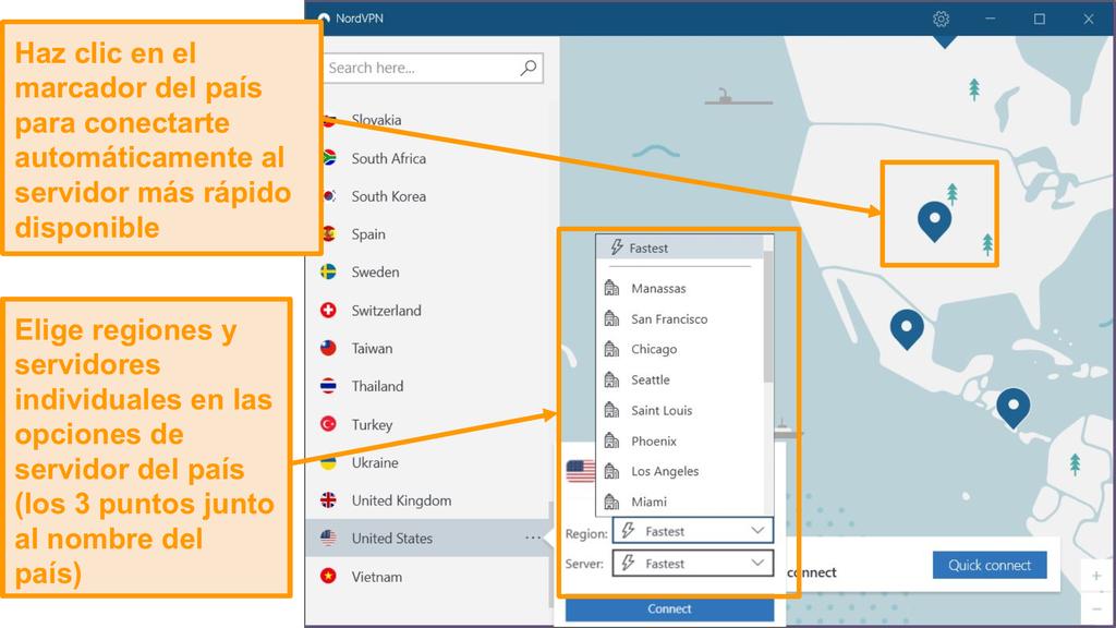 Captura de pantalla de la selección de servidores NordVPN.