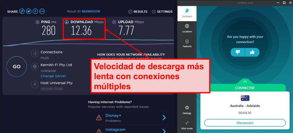 Las velocidades de conexión de Surfshark se ralentizan al transmitir en varios dispositivos.