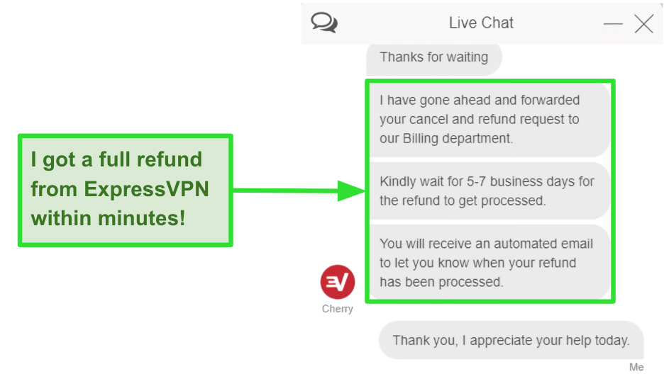 Screenshot of a customer requesting a refund with the 30-day money-back guarantee on ExpressVPN's live chat