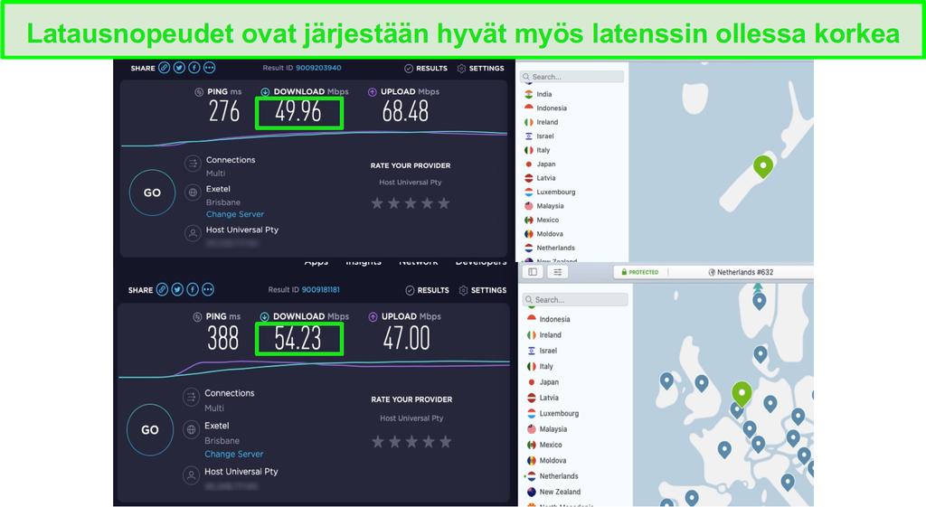 NordVPN:n nopeudet ovat riittävän nopeita UltraHD-suoratoistoon Disney+:lla Yhdysvalloissa, Australiassa, Uudessa-Seelannissa ja Alankomaissa.