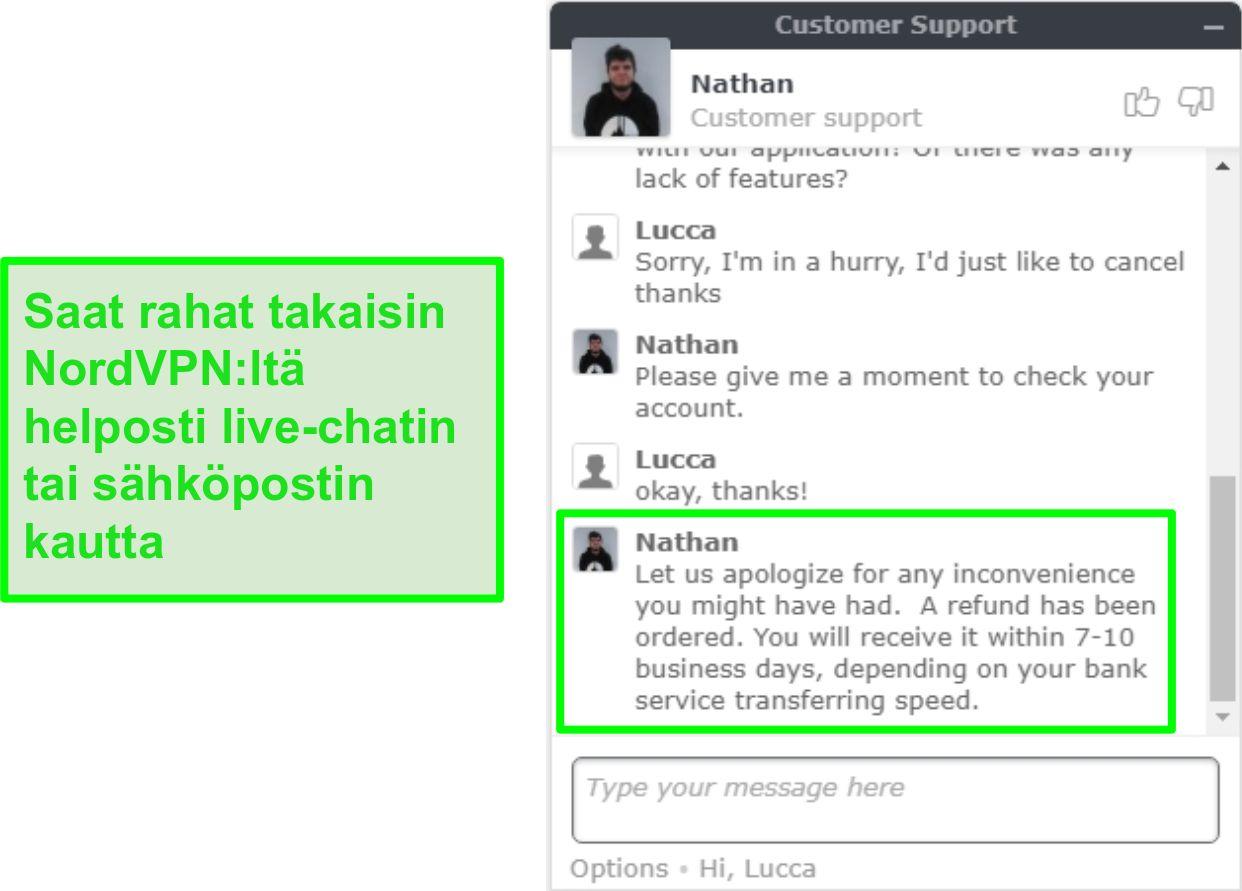 Näyttökuva onnistuneesta NordVPN-hyvityksen hyväksymisestä live-chatin kautta