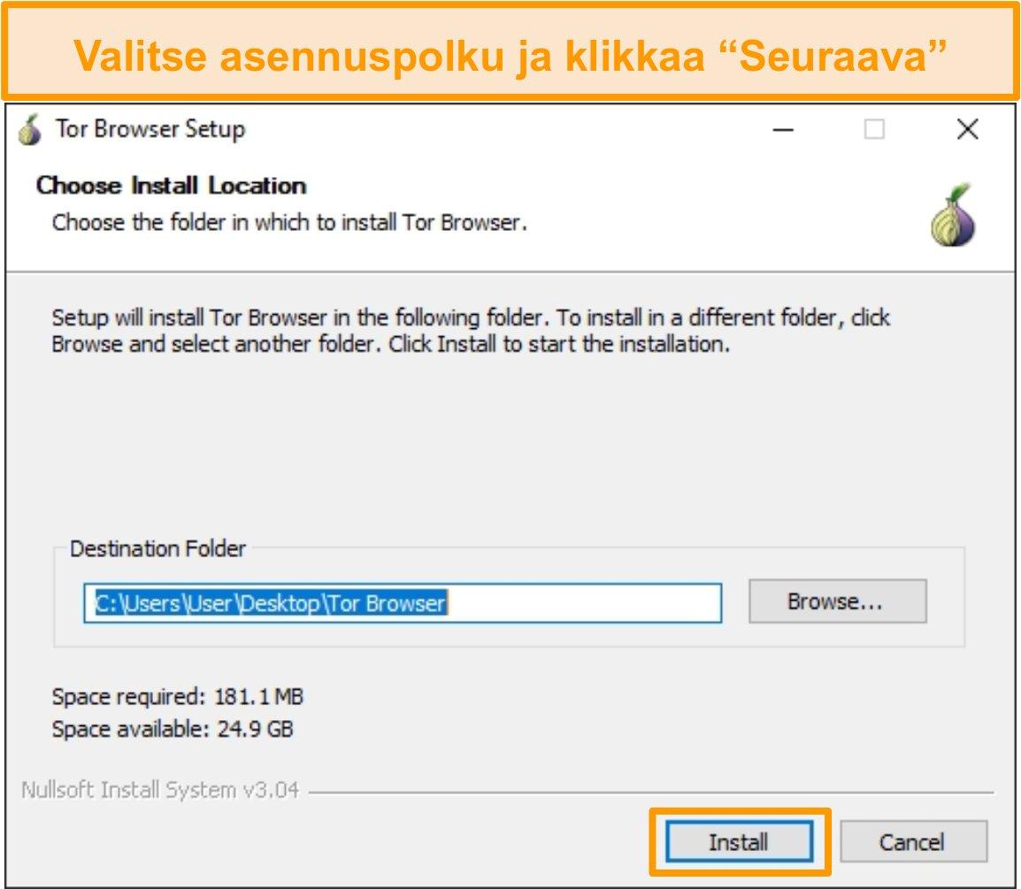Kuvakaappaus Tor-selaimen asennuksesta Windows 10: ssä