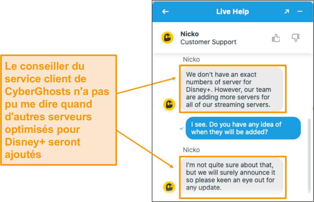 Discutez en direct avec l'agent de soutien à la clientèle de CyberGhost.