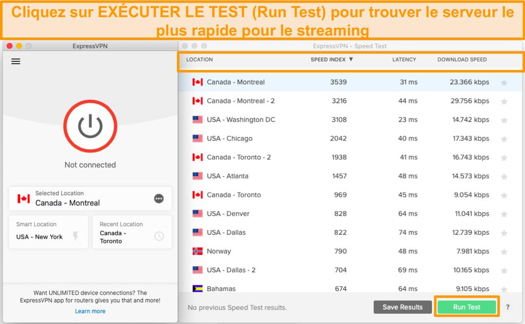 Le test de vitesse d'ExpressVPN vous aide à choisir le serveur le plus rapide.