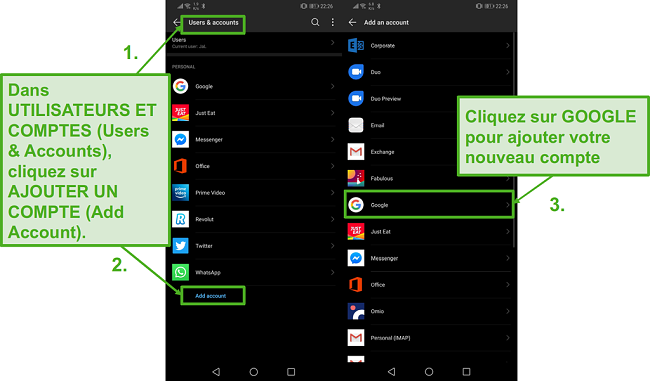 Créez un nouveau compte Google sur votre appareil Android en cliquant sur