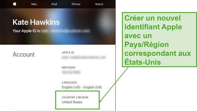 Créez un nouvel identifiant Apple et changez le pays pour les États-Unis.