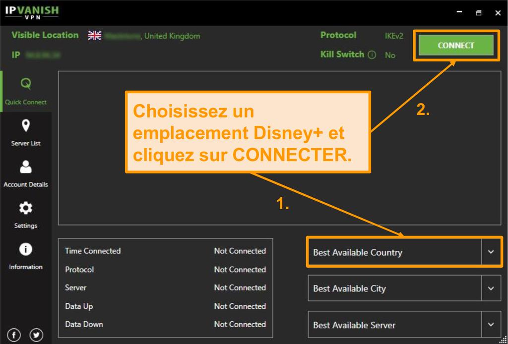 Il vous suffit de choisir un pays Disney ET de cliquer sur la connexion avec IPVanish.