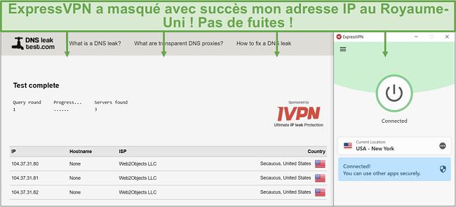 Capture d'écran du test de fuite DNS lorsqu'il est connecté à un serveur ExpressVPN.