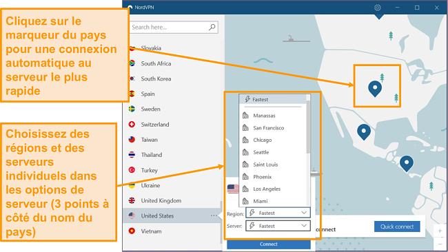 Capture d'écran de la sélection du serveur NordVPN.