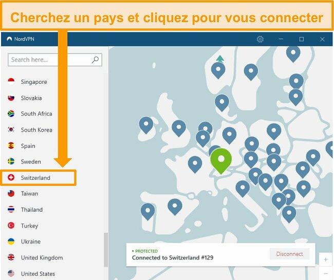 Capture d'écran de l'application NordVPN Windows connectée à un serveur Suisse