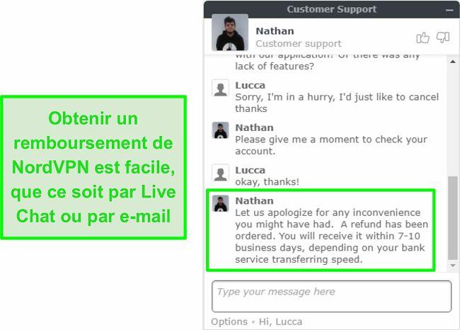 Capture d'écran de l'approbation réussie du remboursement NordVPN via le chat en direct