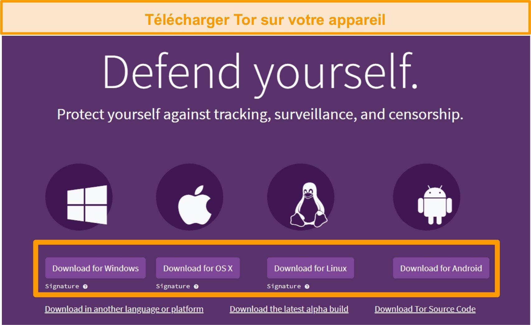 Capture d'écran de la page de téléchargement du projet Tor