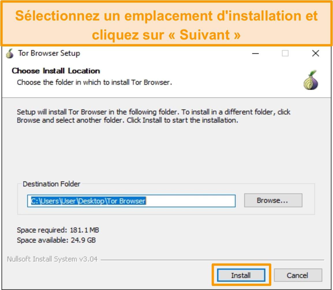 Capture d'écran de l'installation du navigateur Tor sur Windows 10
