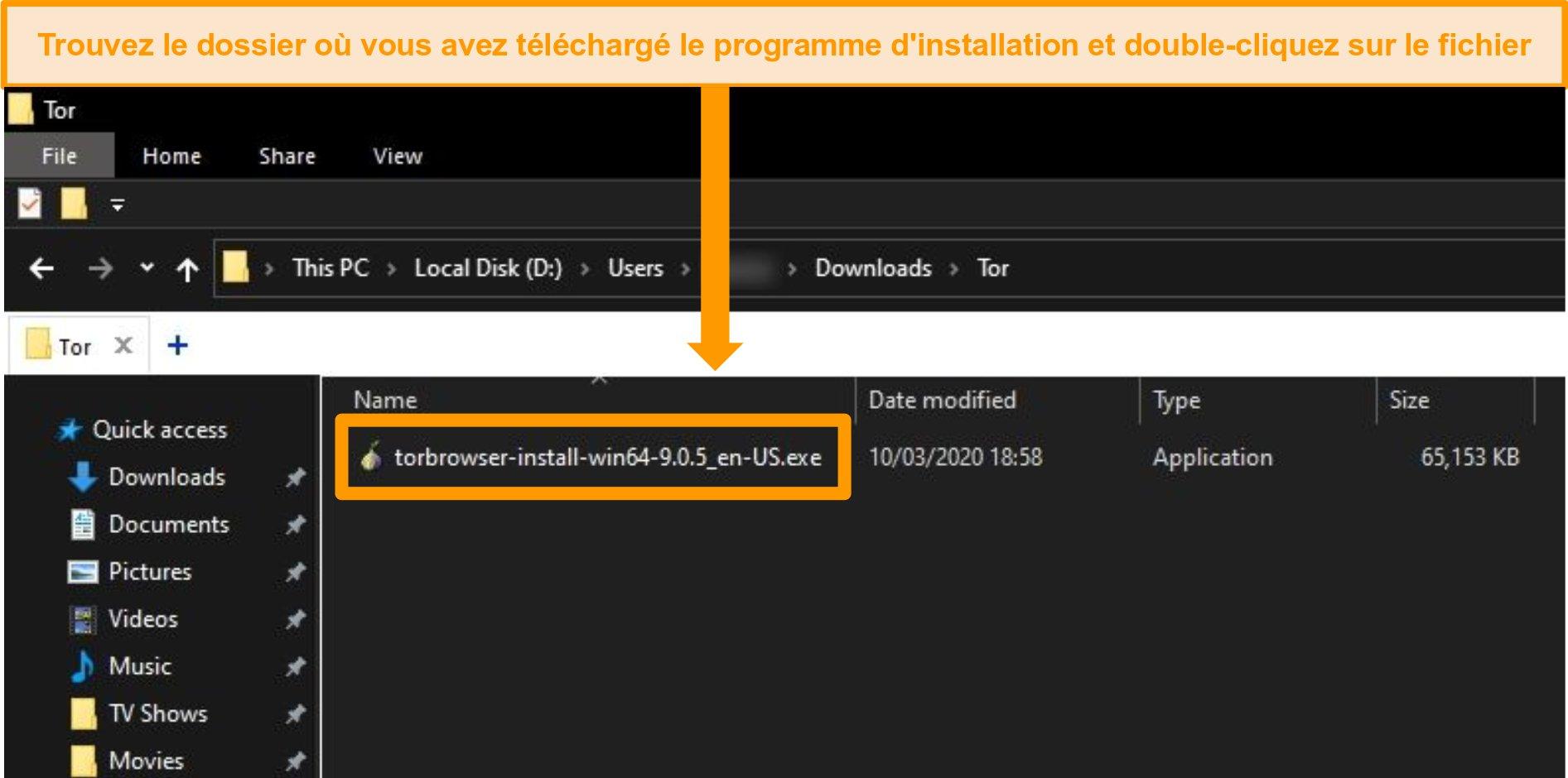 Capture d'écran du programme d'installation de Tor dans le dossier de téléchargement sur Windows 10
