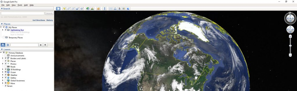screenshot dell'applicazione Google Earth