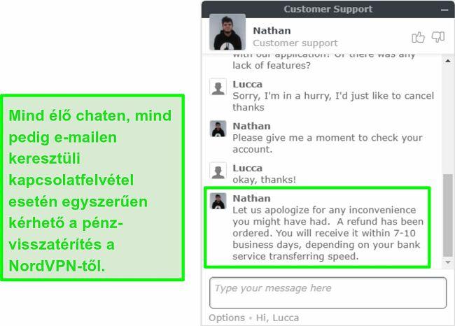 A képernyő a sikeres NordVPN-visszatérítés jóváhagyásáról élő chat-en keresztül
