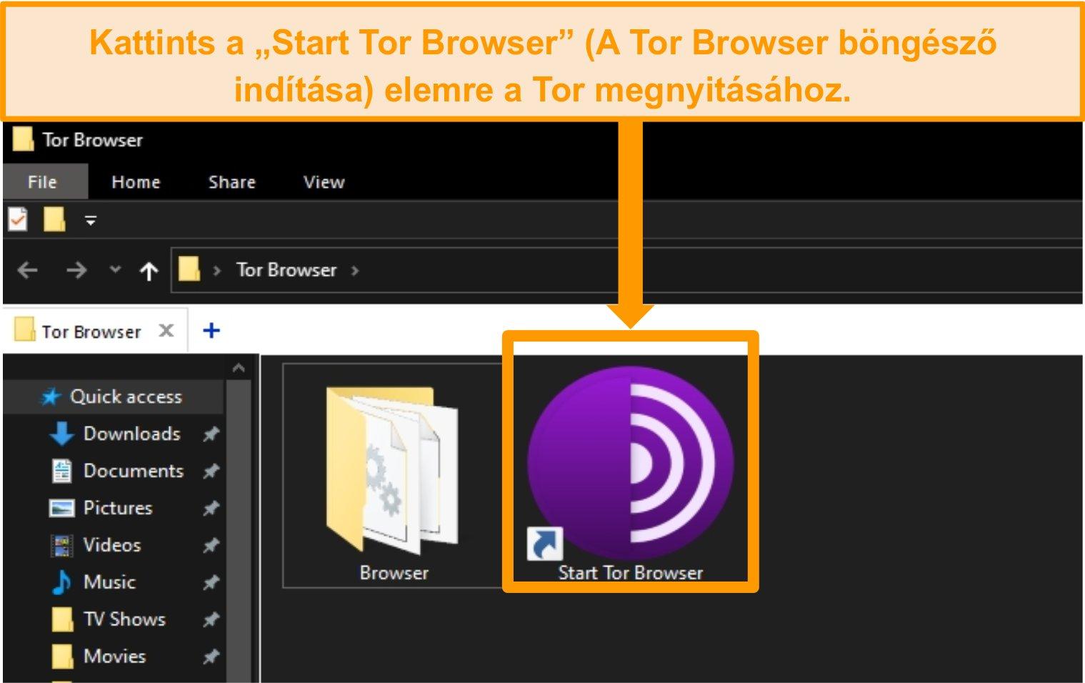 A Tor Browser parancsikonjának képernyőképe a telepítés után a Windows 10 rendszerre