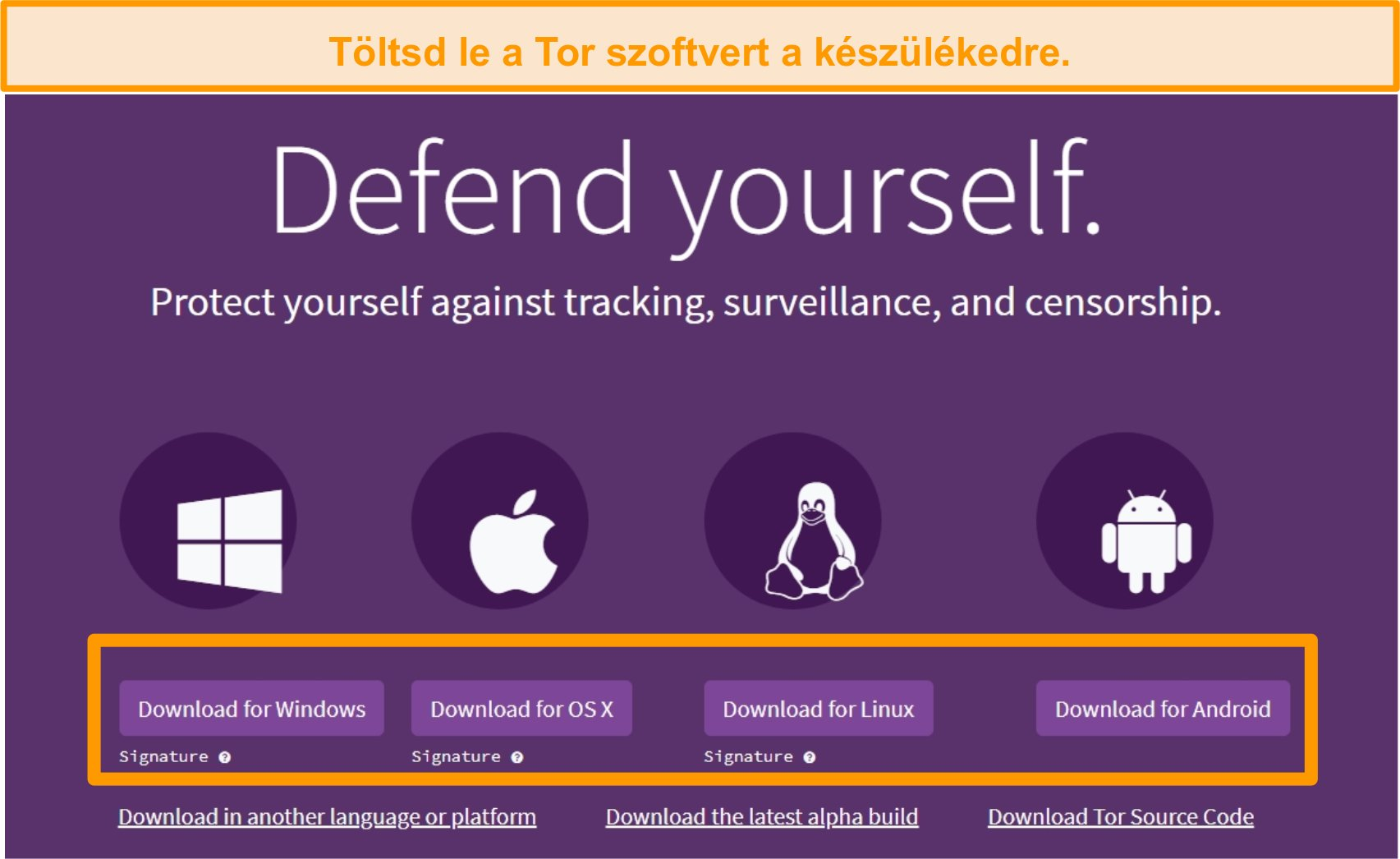 A Tor projekt letöltési oldalának áttekintése