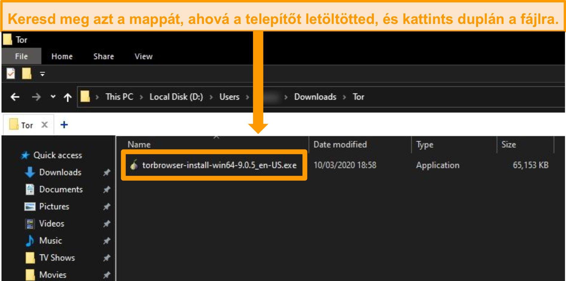 A Tor telepítő képernyőképe a letöltési mappában a Windows 10 rendszeren