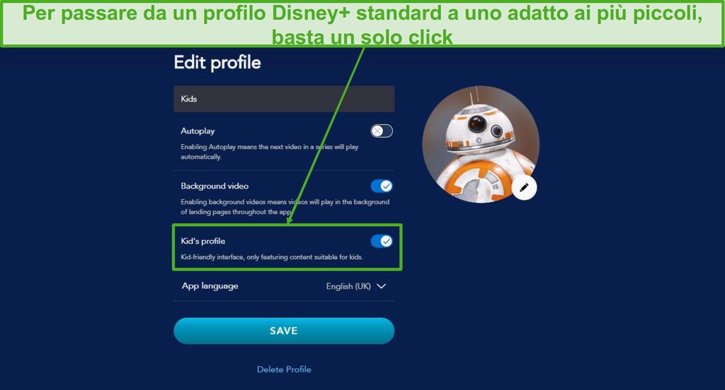 Cambia un profilo regolare su Disney in un profilo adatto ai bambini con un clic.