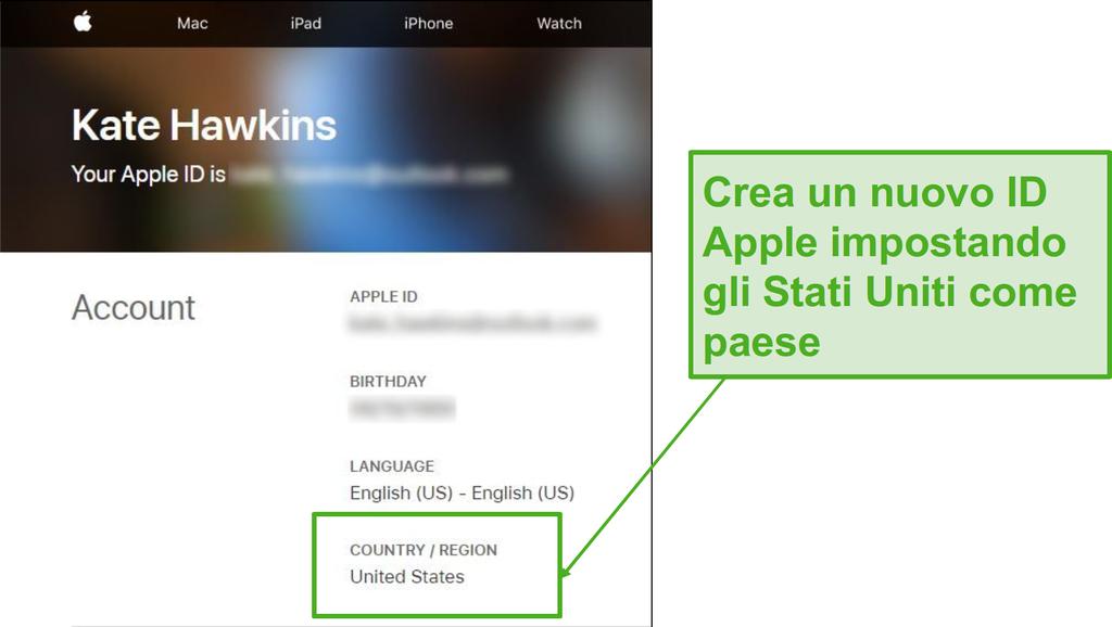 Crea un nuovo ID Apple e cambia il paese negli Stati Uniti.