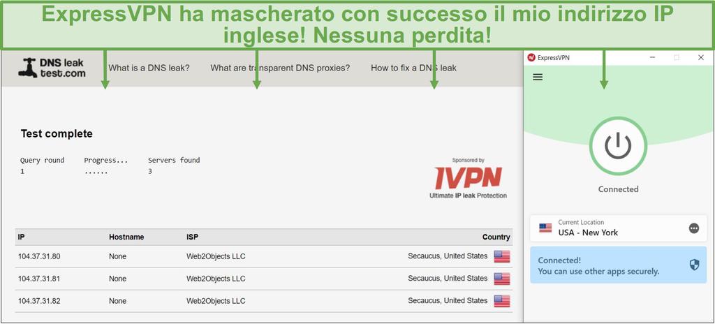 Screenshot del test delle perdite DNS mentre si è connessi a un server ExpressVPN.