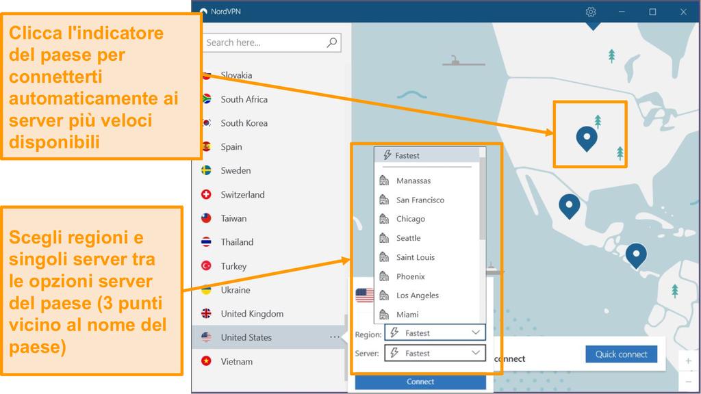 Screenshot della selezione del server NordVPN.