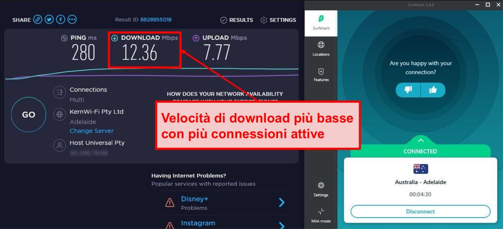Le velocità di connessione di Surfshark rallentano durante lo streaming su più dispositivi.