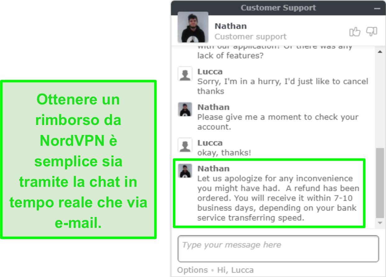 Schermata della corretta approvazione del rimborso NordVPN tramite live chat