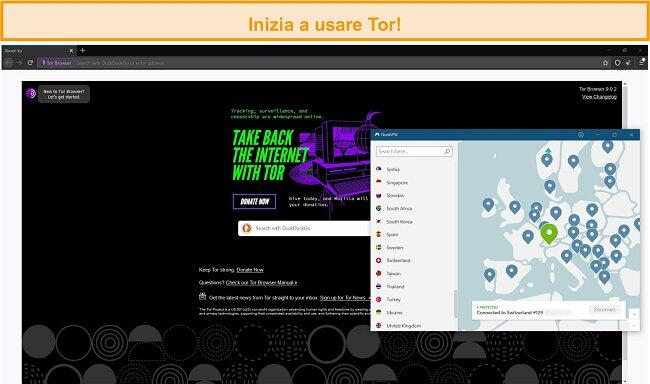 Schermata del browser Tor aperta con una connessione Tor over VPN tramite NordVPN