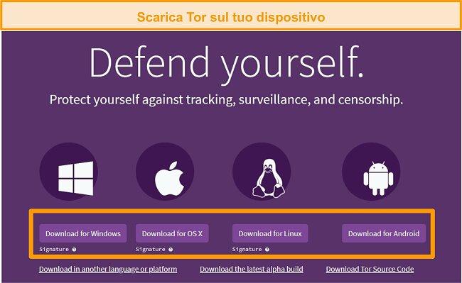 Schermata della panoramica della pagina di download del progetto Tor