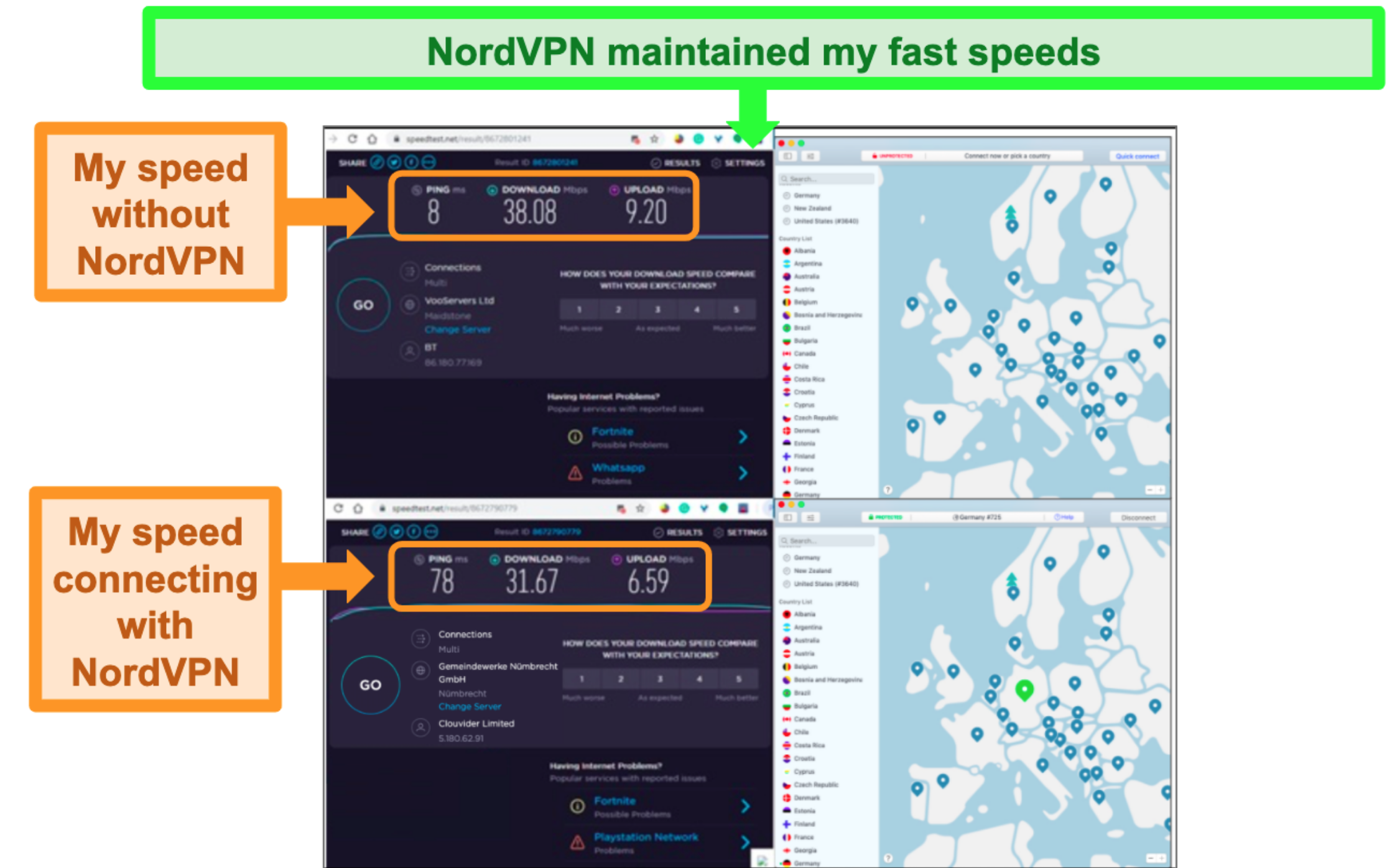 Screenshot of nordvpn successfully maintaining fast speeds while connected to a German server.
