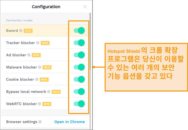 HotSpot Shield의 Chrome 확장 보안 기능의 스크린 샷입니다.
