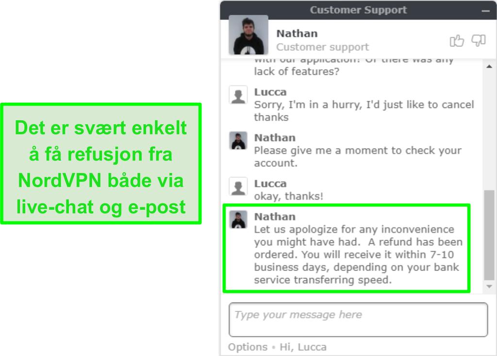 Skjermbilde av vellykket godkjenning av NordVPN via live chat
