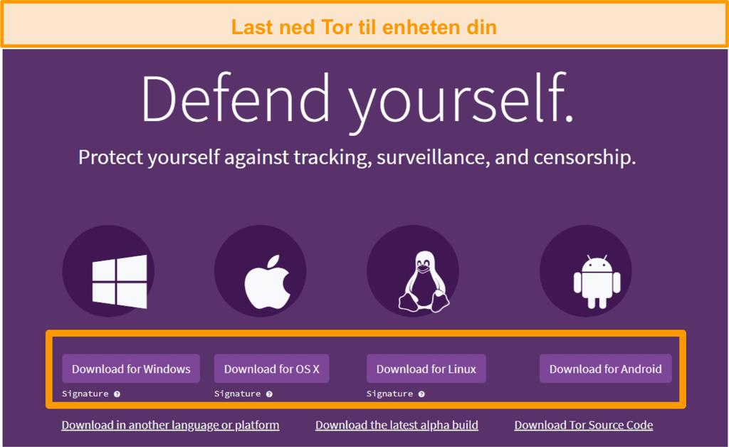 Skjermbilde av oversikten over nedlastingssiden for Tor-prosjektet