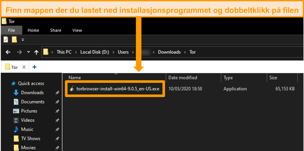 Skjermbilde av Tor installasjonsprogram i nedlastingsmappe på Windows 10