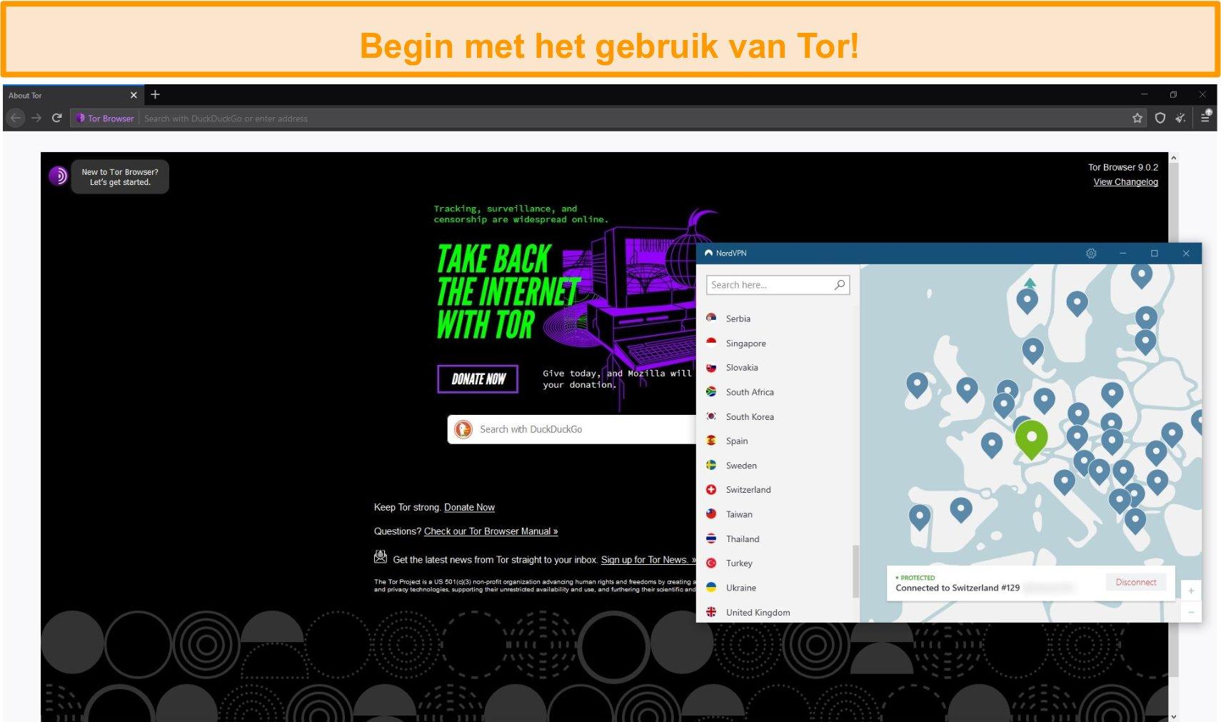 Screenshot van Tor-browser geopend met een Tor over VPN-verbinding via NordVPN