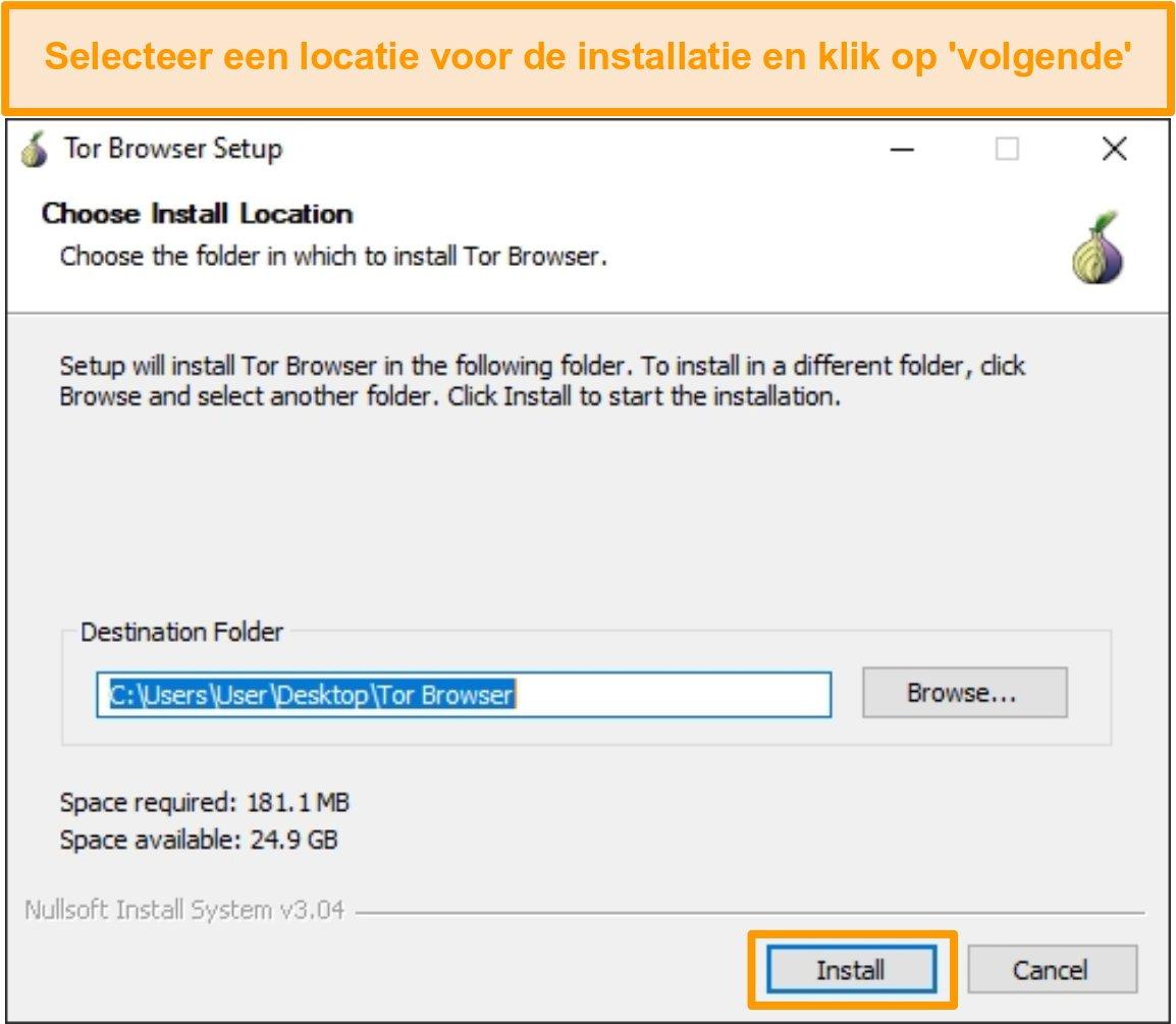 Schermafbeelding van de Tor-browserinstallatie op Windows 10