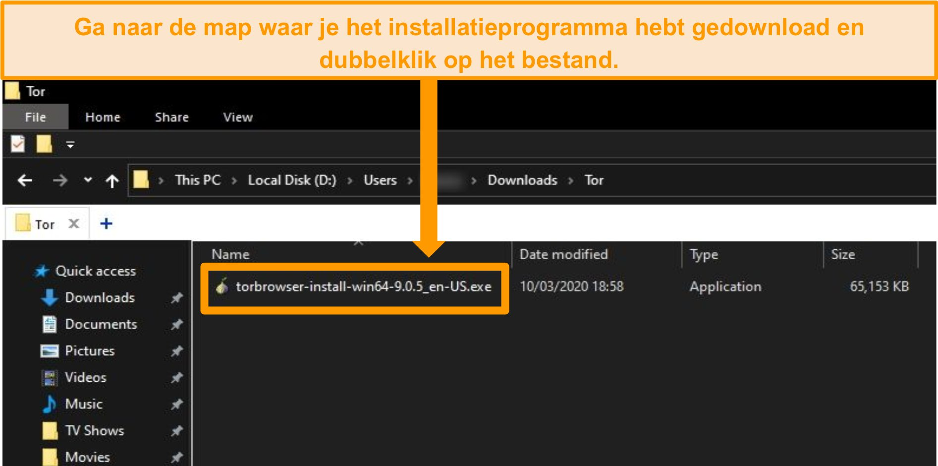 Screenshot van Tor-installatieprogramma in downloadmap op Windows 10