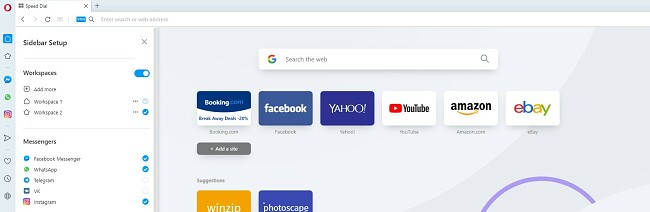 screenshot of Opera Browser