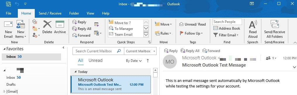 captura de pantalla del panel de trabajo de MS Outlook