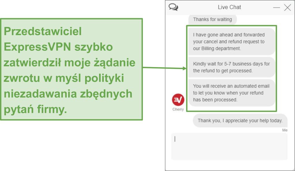 Łatwo uzyskać pełny zwrot pieniędzy z ExpressVPN.