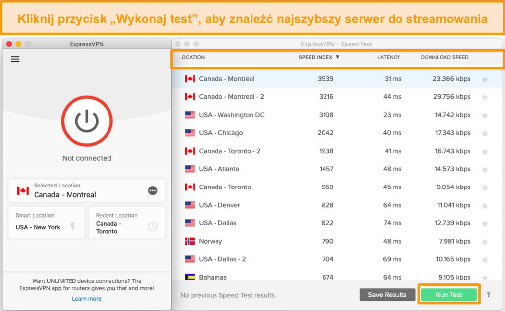 Test prędkości ExpressVPN pomaga wybrać najszybszy serwer.