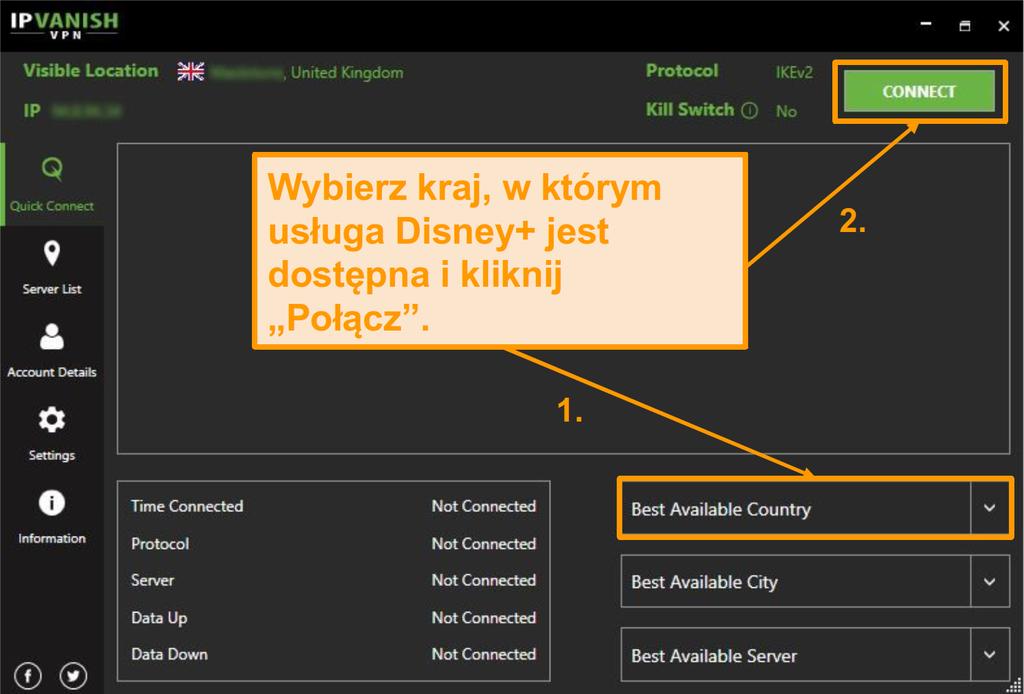 Po prostu wybierz kraj Disney + i kliknij połącz się z IPVanish.