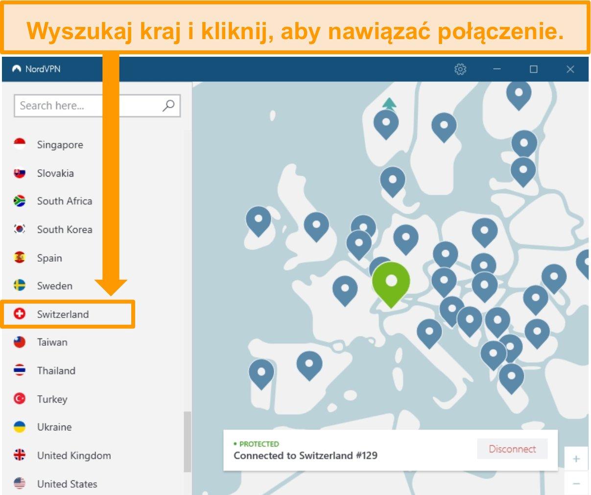 Zrzut ekranu aplikacji Windows NordVPN podłączonej do serwera Szwajcarii