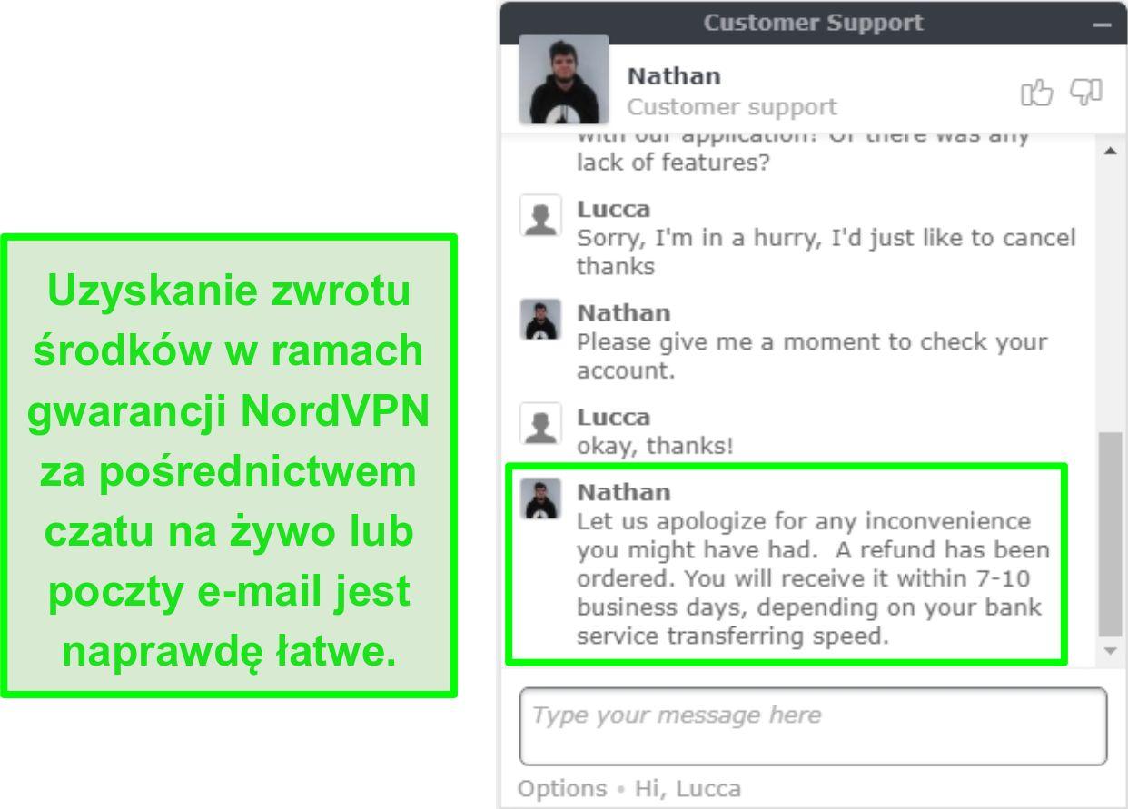 Zrzut ekranu udanego zatwierdzenia zwrotu NordVPN za pośrednictwem czatu na żywo
