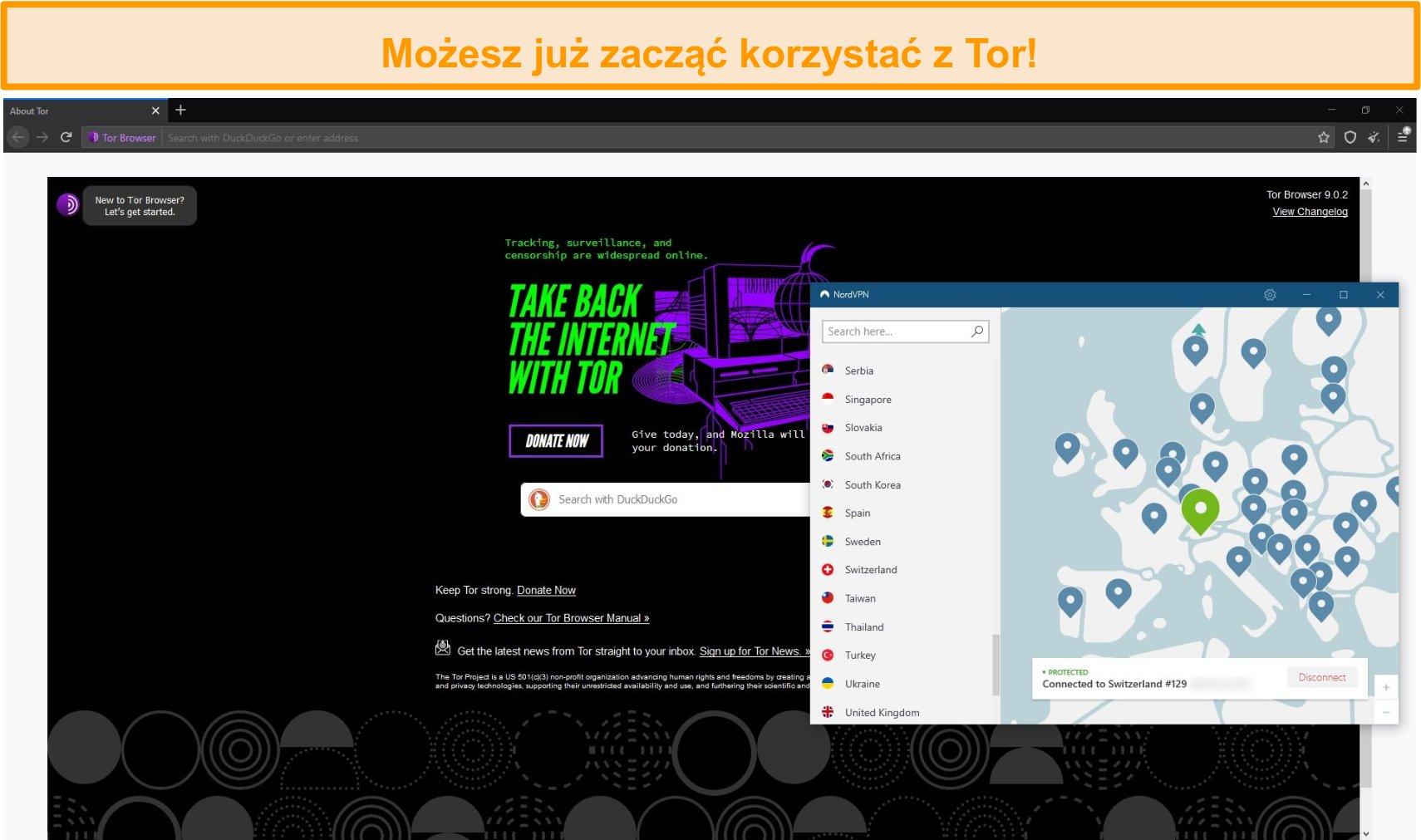 Zrzut ekranu przeglądarki Tor otwartej za pomocą połączenia Tor przez VPN przez NordVPN