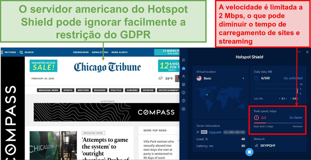 Screenshot da versão free Hotspot Shield desbloqueando o conteúdo.