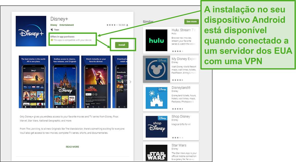 Assim que ligar a um servidor dos EUA, pode facilmente instalar o Disney+ no seu Android.
